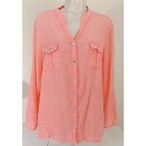 NOTATIONS Salmon Button Down Top with Lace Yoke